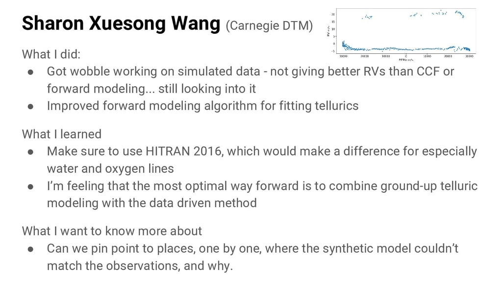 Sharon Xuesong Wang (Carnegie DTM) What I did: ...