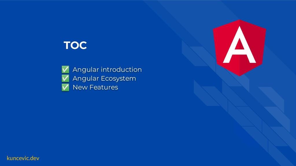 kuncevic.dev TOC ✅ Angular introduction ✅ Angul...