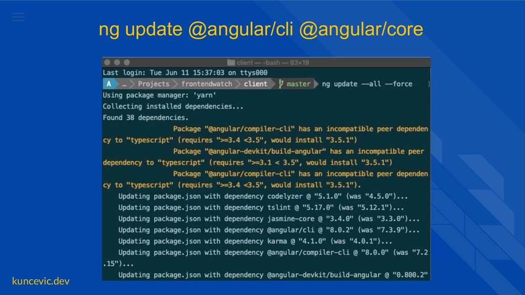 kuncevic.dev ng update @angular/cli @angular/co...