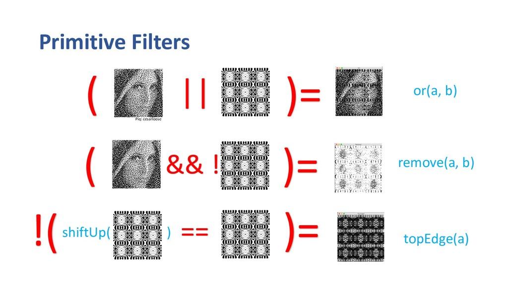 Primitive Filters remove(a, b) && ! or(a, b) )=...