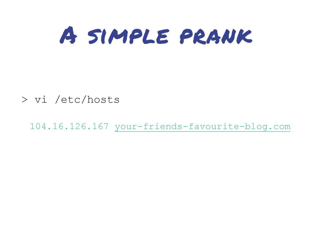 A simple prank > vi /etc/hosts 104.16.126.167 y...