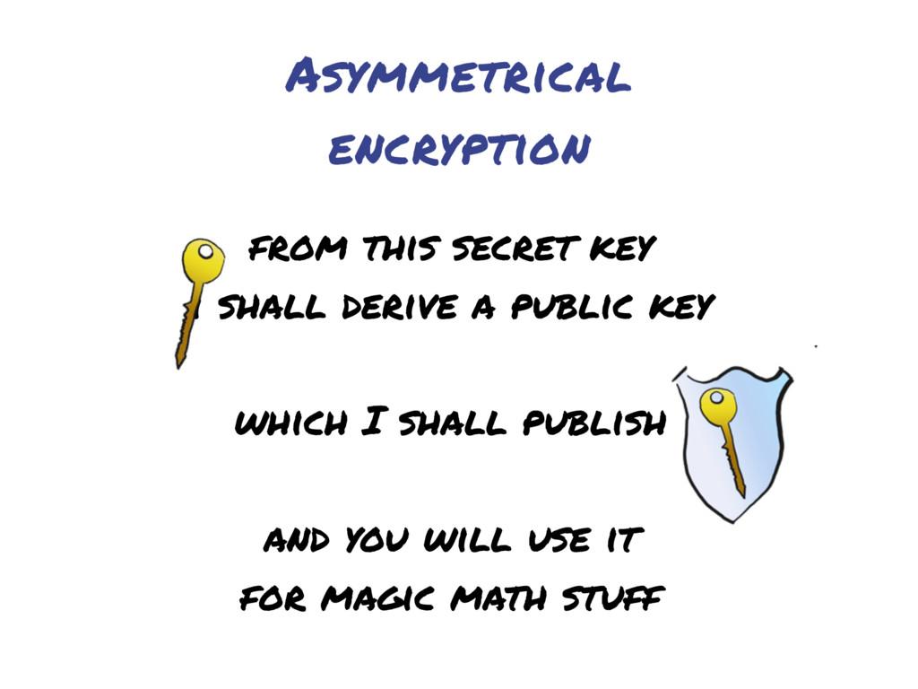 Asymmetrical encryption from this secret key i ...