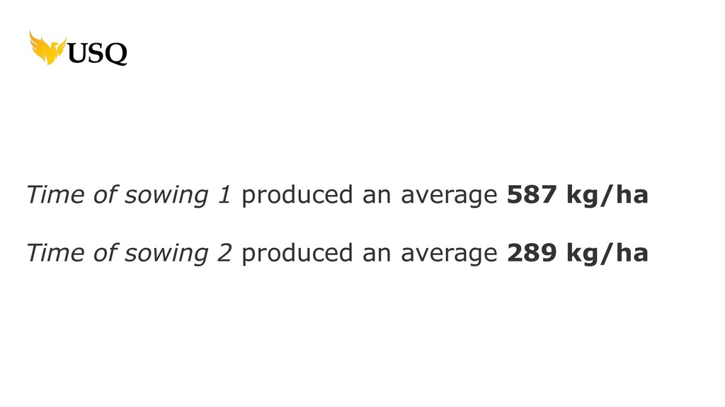 Time of sowing 1 produced an average 587 kg/ha ...