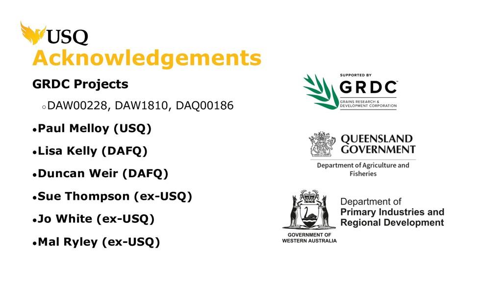 GRDC Projects ○DAW00228, DAW1810, DAQ00186 ●Pau...