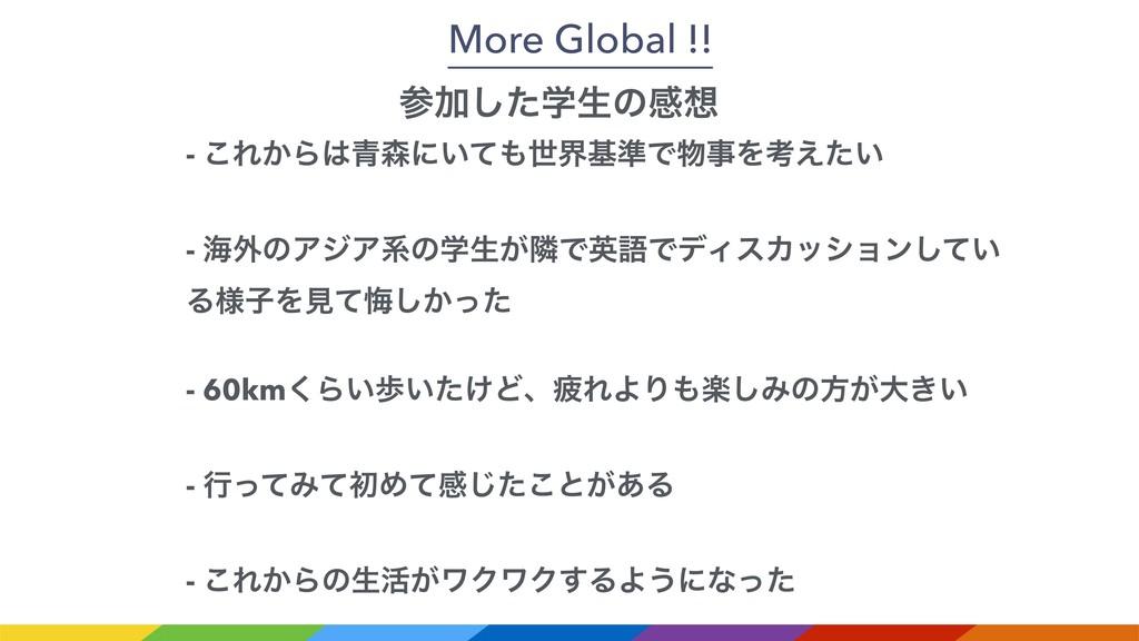 More Global !! Ճֶͨ͠ੜͷײ - ͜Ε͔Β੨ʹ͍ͯੈքج४ͰΛߟ...