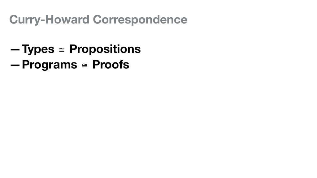 Curry-Howard Correspondence —Types ≅ Propositio...
