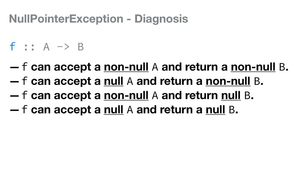 NullPointerException - Diagnosis f :: A -> B —f...