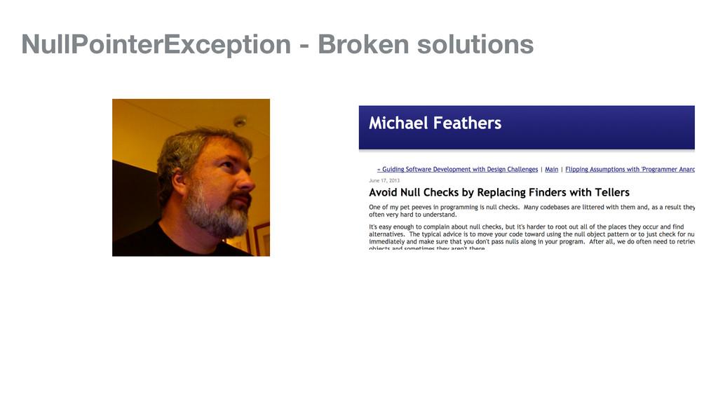 NullPointerException - Broken solutions