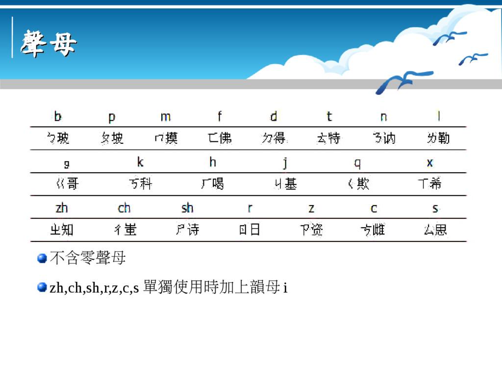 聲母 聲母 不含零聲母 zh,ch,sh,r,z,c,s 單獨使用時加上韻母 i