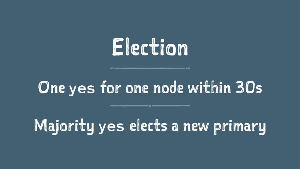 Election One yes for one node within 30s Majori...