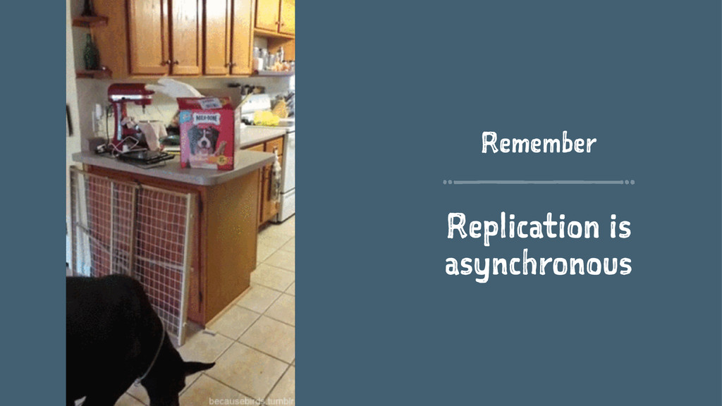 Remember Replication is asynchronous