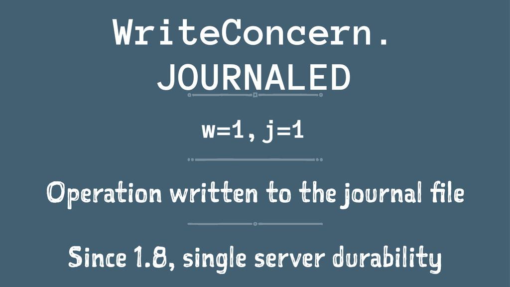 WriteConcern. JOURNALED w=1, j=1 Operation writ...