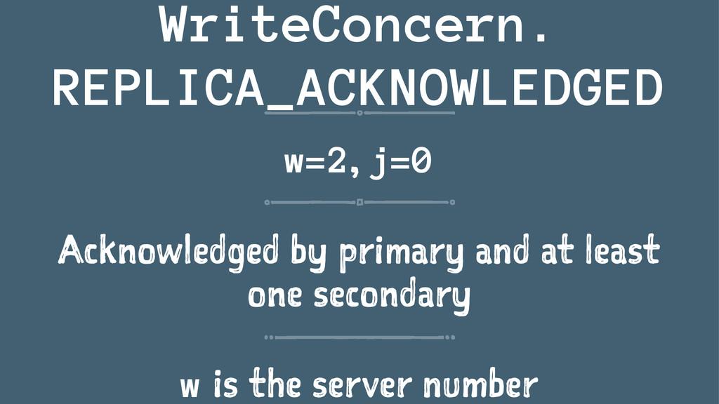 WriteConcern. REPLICA_ACKNOWLEDGED w=2, j=0 Ack...