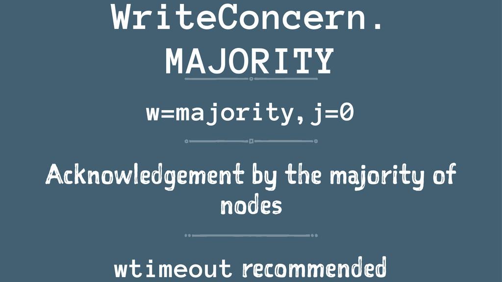 WriteConcern. MAJORITY w=majority, j=0 Acknowle...