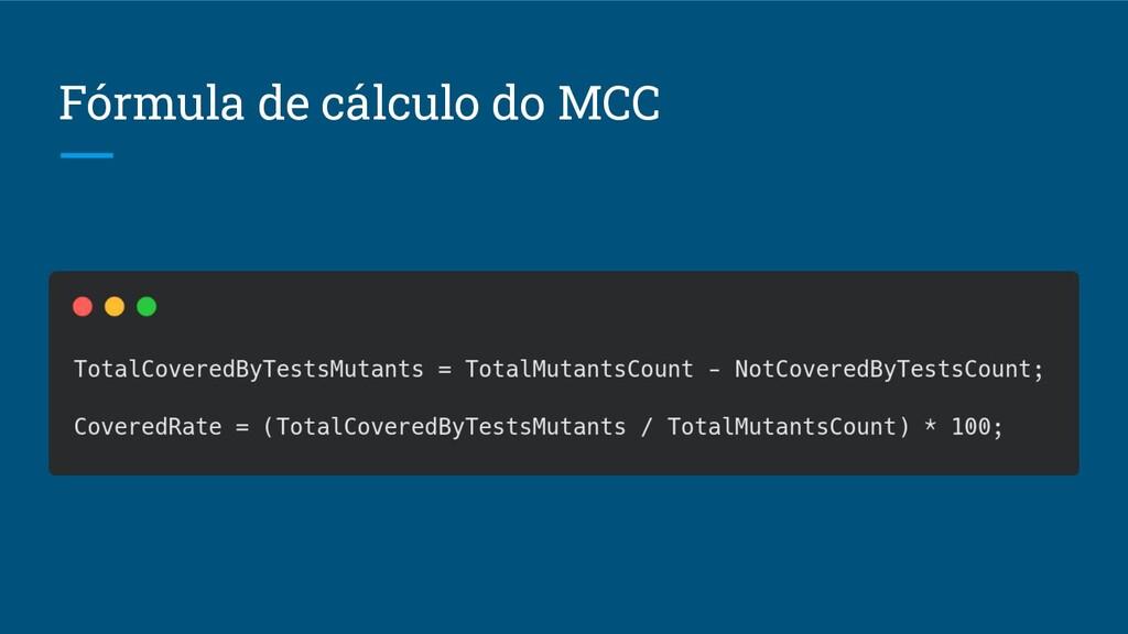 Fórmula de cálculo do MCC