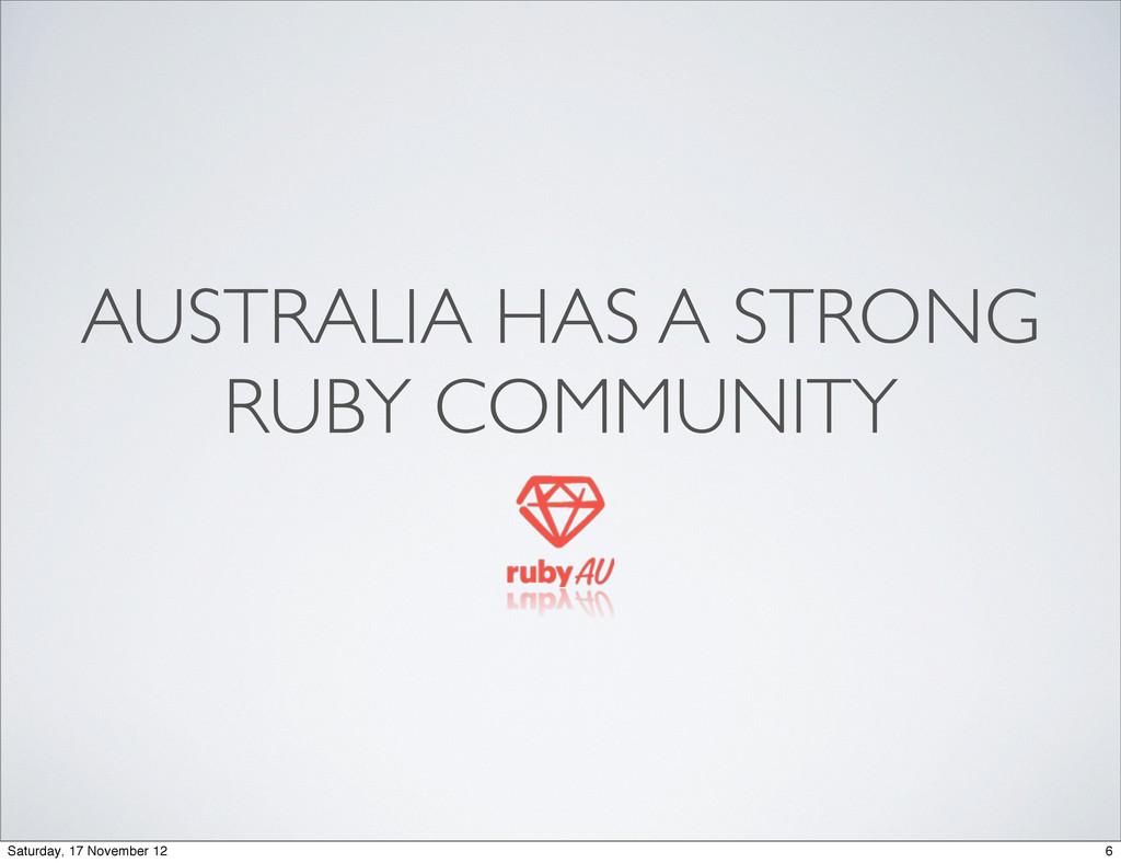 AUSTRALIA HAS A STRONG RUBY COMMUNITY 6 Saturda...