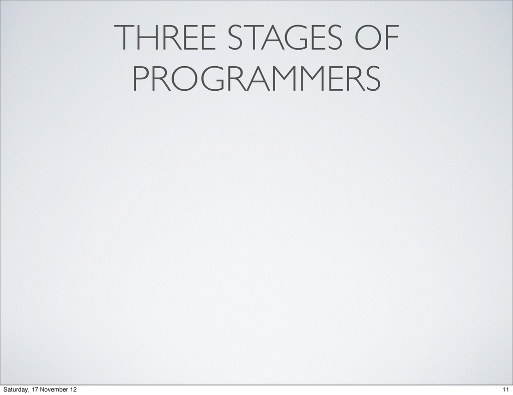 THREE STAGES OF PROGRAMMERS 11 Saturday, 17 Nov...