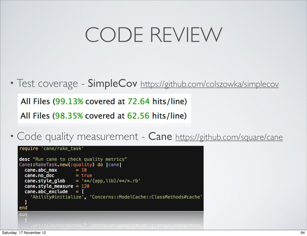 CODE REVIEW • Test coverage - SimpleCov https:/...