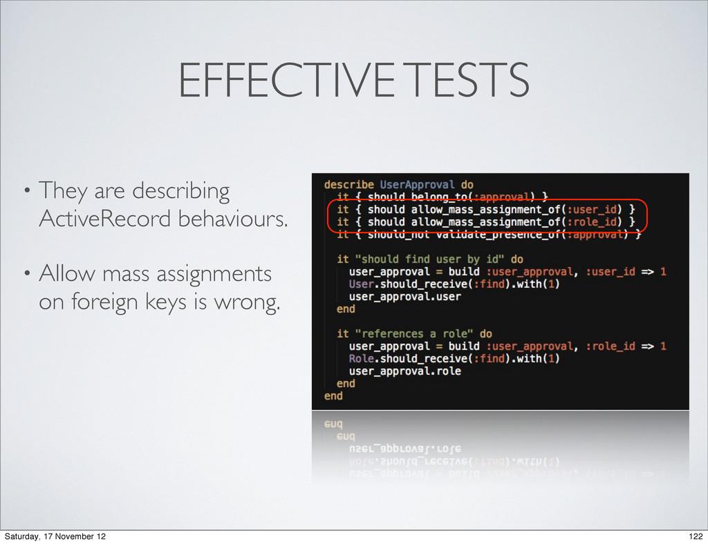 EFFECTIVE TESTS • They are describing ActiveRec...