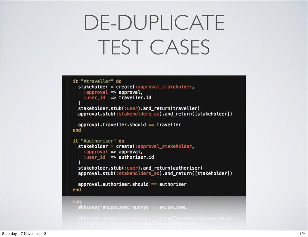 DE-DUPLICATE TEST CASES 124 Saturday, 17 Novemb...