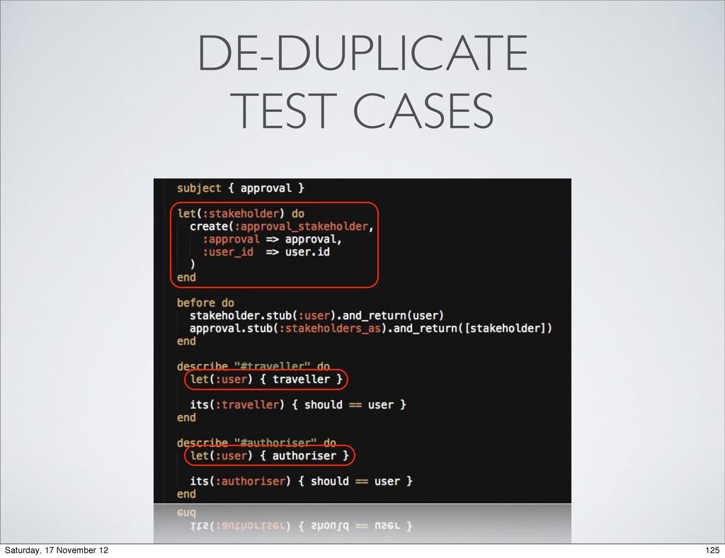 DE-DUPLICATE TEST CASES 125 Saturday, 17 Novemb...