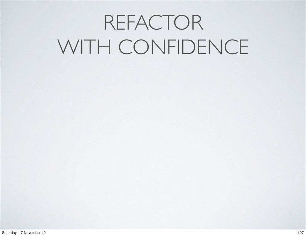 REFACTOR WITH CONFIDENCE 127 Saturday, 17 Novem...