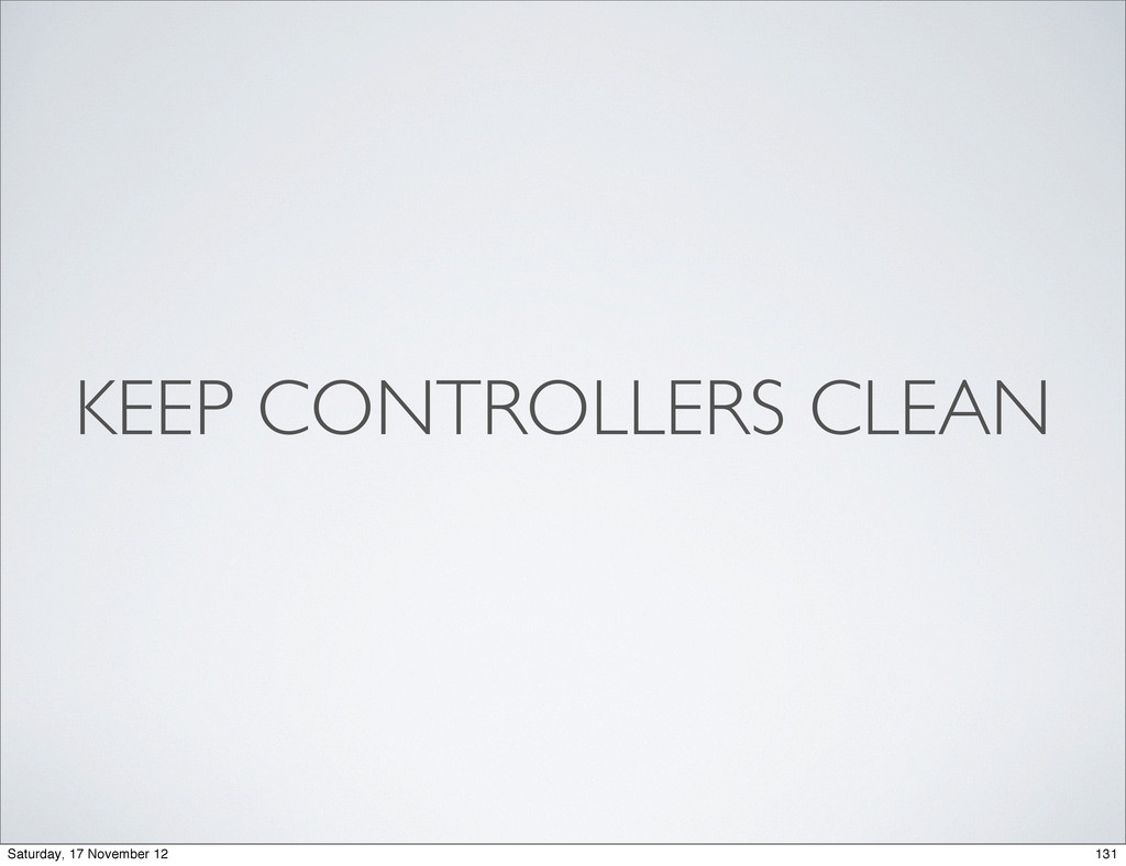KEEP CONTROLLERS CLEAN 131 Saturday, 17 Novembe...