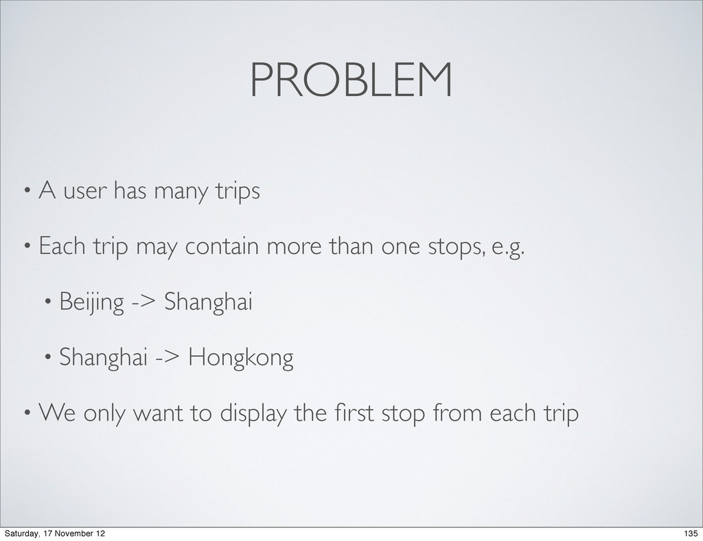PROBLEM • A user has many trips • Each trip may...
