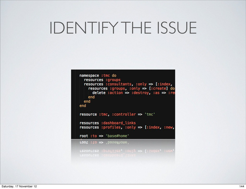IDENTIFY THE ISSUE 144 Saturday, 17 November 12