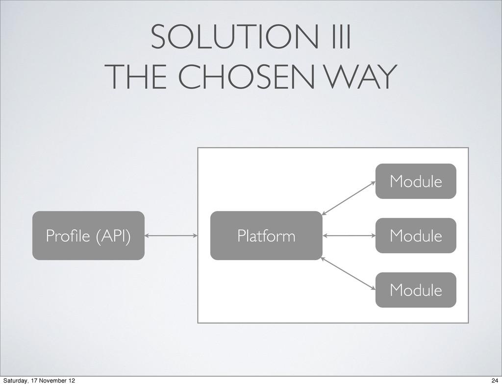 SOLUTION III THE CHOSEN WAY Profile (API) Platfo...
