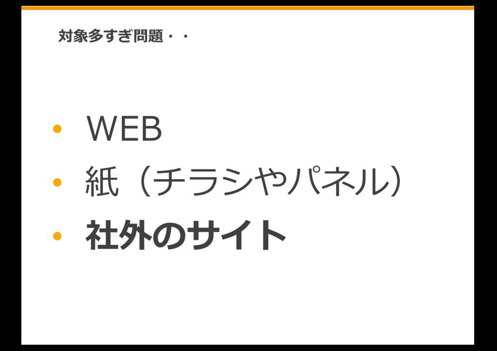 • WEB • 紙(チラシやパネル) • 社外のサイト 対象多すぎ問題・・