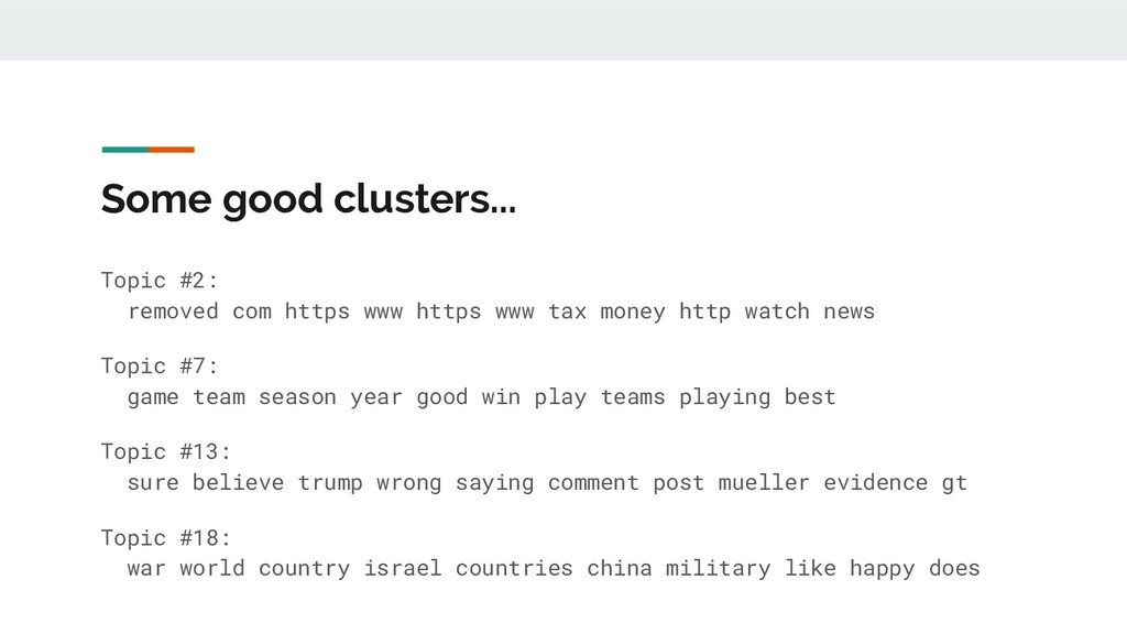 Some good clusters... Topic #2: removed com htt...