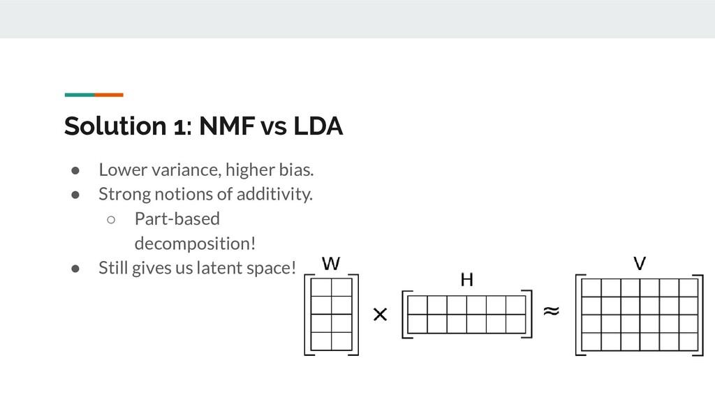 Solution 1: NMF vs LDA ● Lower variance, higher...