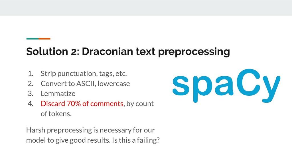 Solution 2: Draconian text preprocessing 1. Str...