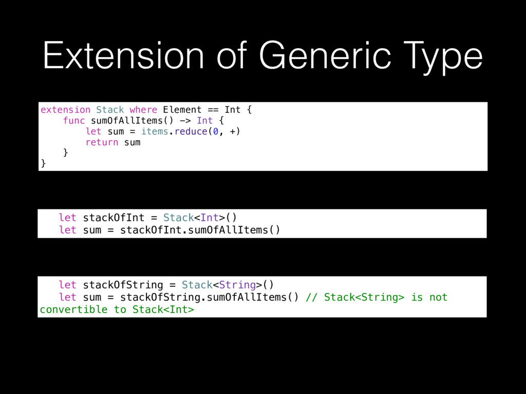 Extension of Generic Type extension Stack where...