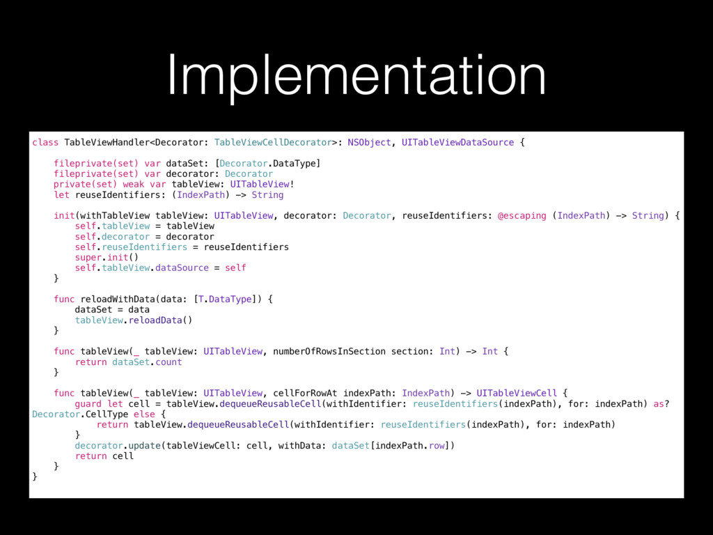 Implementation class TableViewHandler<Decorator...