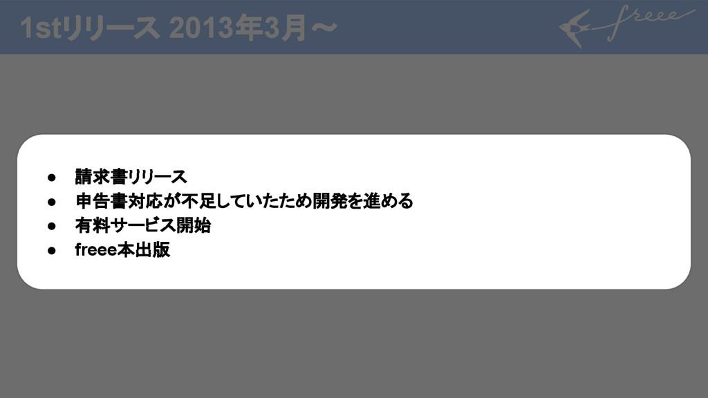 1stリリース 2013年3月〜 しばらくfreeeのアプリケーション側の み、成長が続く ●...