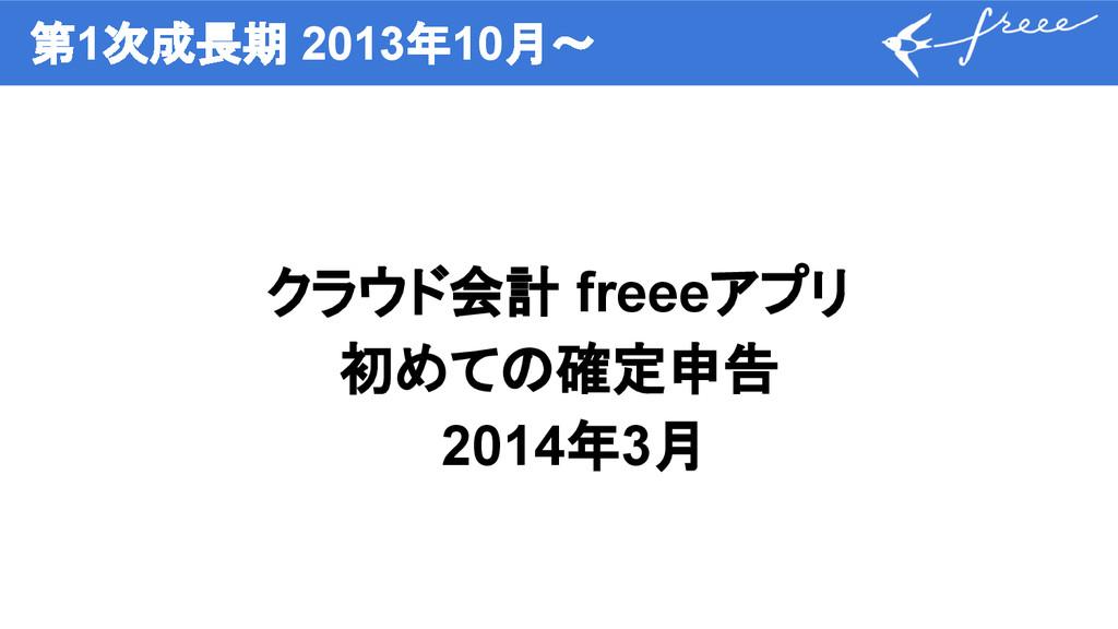 第1次成長期 2013年10月〜 クラウド会計 freeeアプリ 初めての確定申告 2014年...