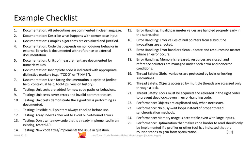 Example Checklist 1. Documentation: All subrout...