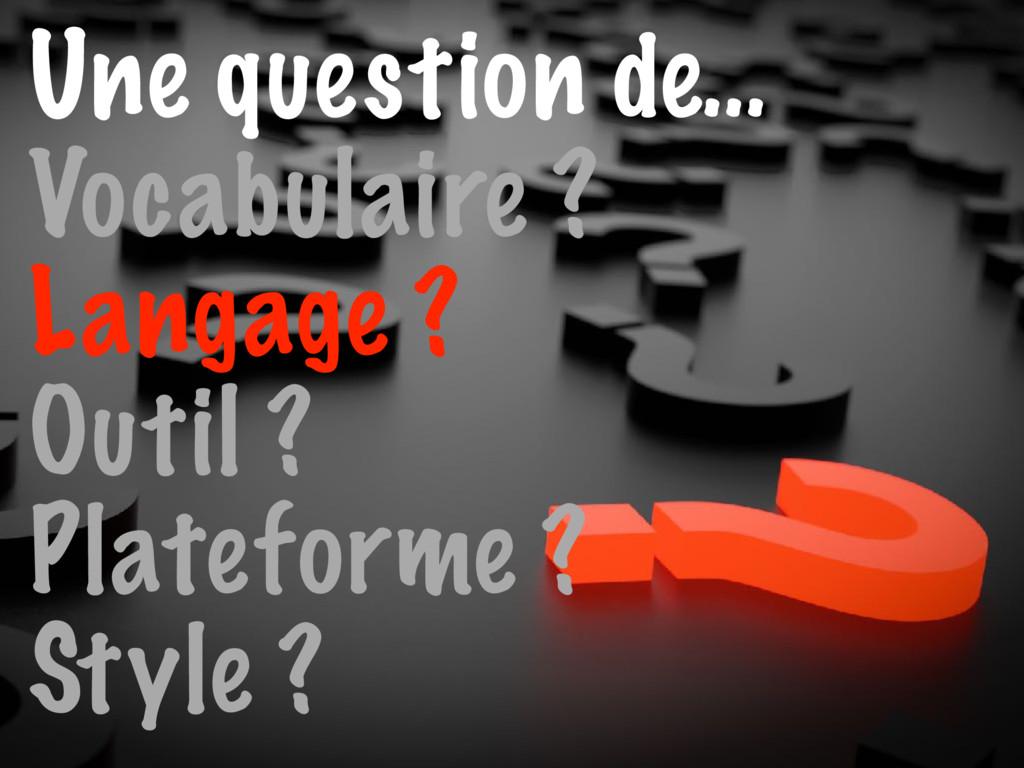 Une question de… Vocabulaire ? Langage ? Outil ...