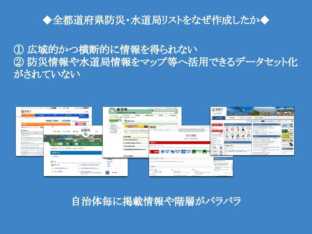 ◆全都道府県防災・水道局リストをなぜ作成したか◆ ① 広域的かつ横断的に情報を得られない ② ...