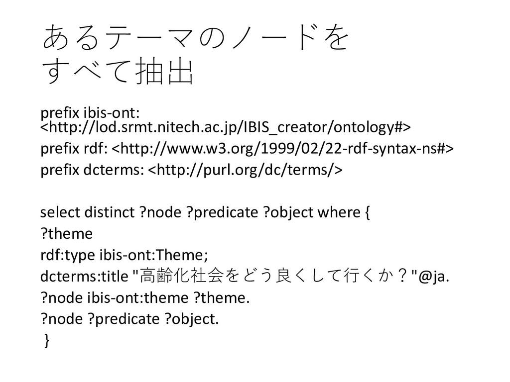 あるテーマのノードを すべて抽出 prefix ibis-ont: <http://lod.s...