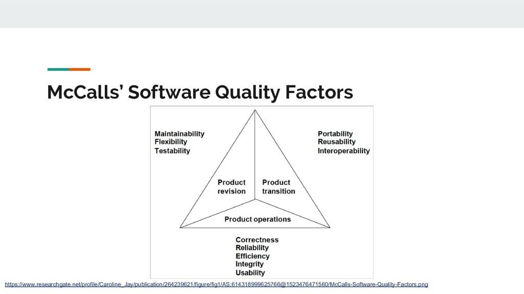 McCalls' Software Quality Factors https://www.r...