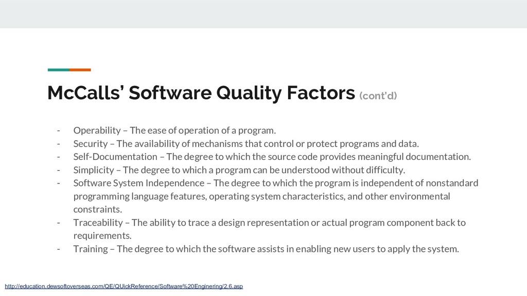 McCalls' Software Quality Factors (cont'd) - Op...