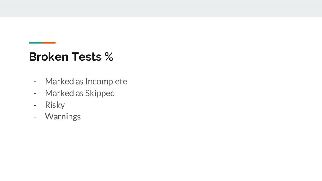 Broken Tests % - Marked as Incomplete - Marked ...
