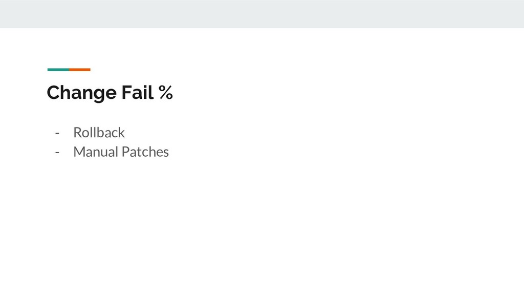 Change Fail % - Rollback - Manual Patches