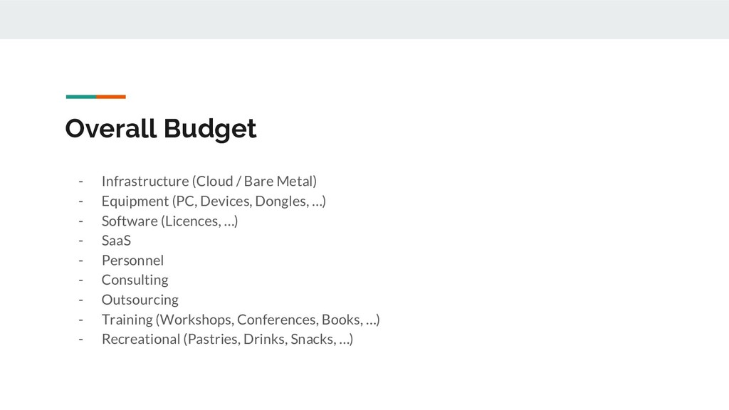 Overall Budget - Infrastructure (Cloud / Bare M...