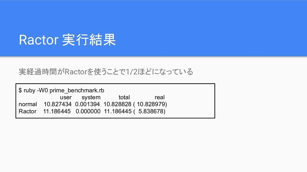 Ractor 実行結果 実経過時間がRactorを使うことで1/2ほどになっている $ rub...