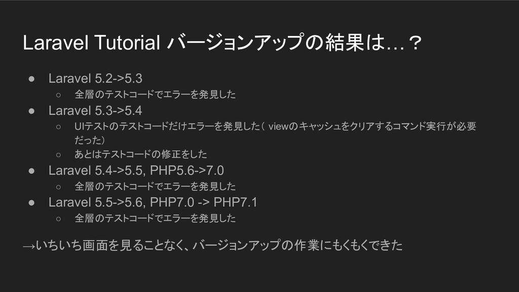 Laravel Tutorial バージョンアップの結果は…? ● Laravel 5.2->...